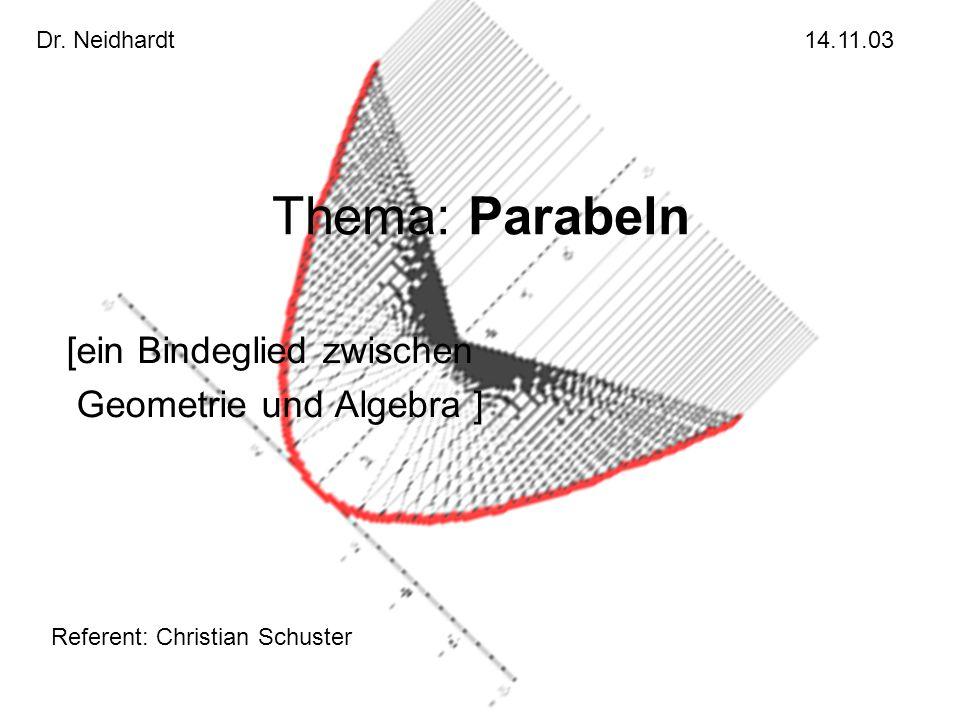 Thema: Parabeln [ein Bindeglied zwischen Geometrie und Algebra ]